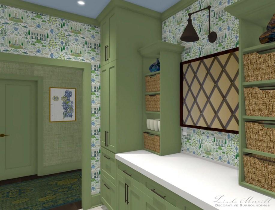 Linda Merrill Decorative Surroundings Dream Home 2021 Mudroom pantry counter closeup Mudroom laundry