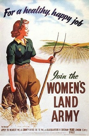 Illustrated poster of Women's Land Army