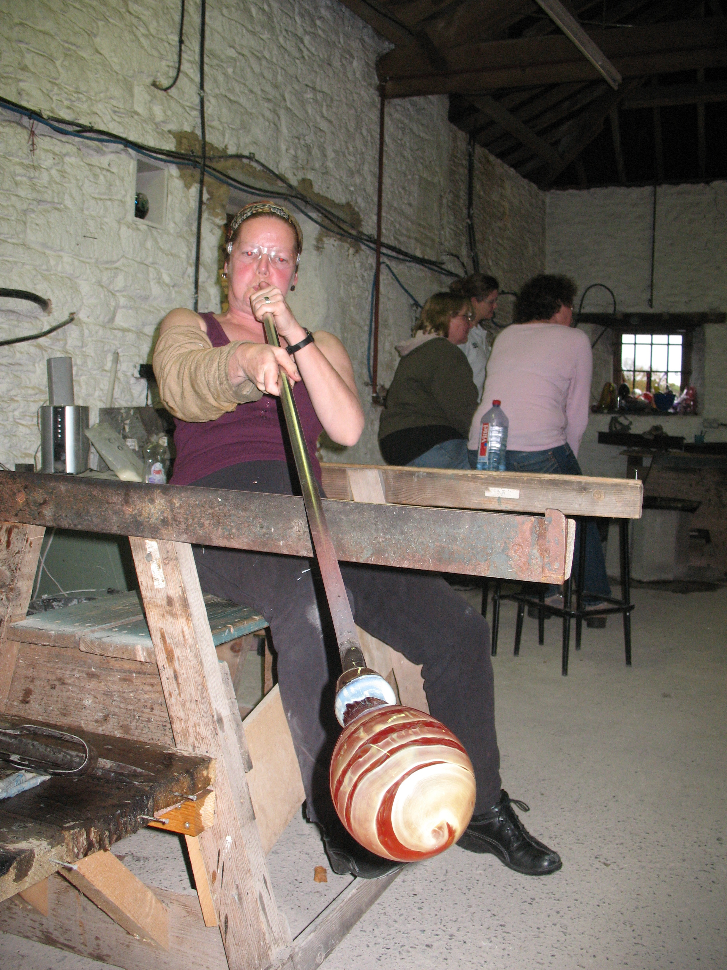 Glass blowing at Liquid Glass Centre in Bradford on Avon.