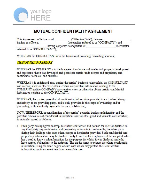 Mutual Confidentiality Agreement Linda Rawson