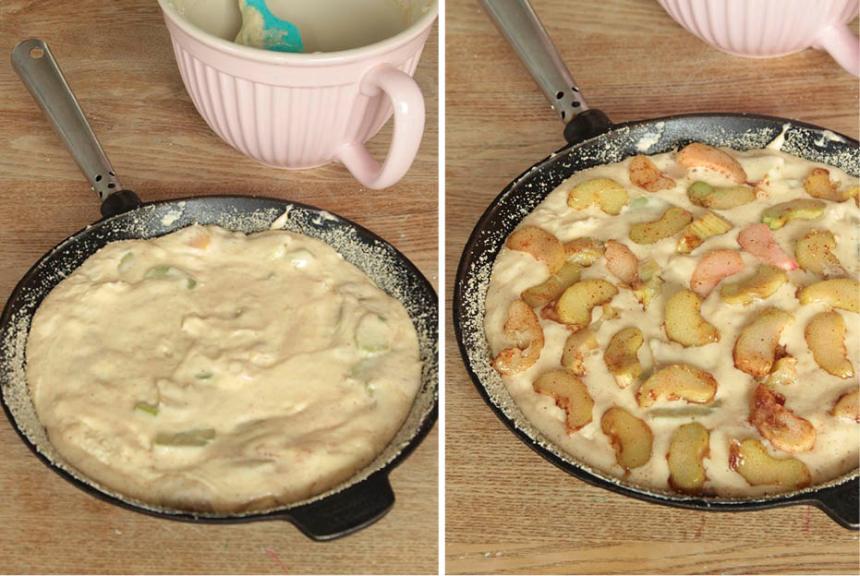 5. Häll smeten i stekpannan eller formen. Sprid ut resten av rabarberbitarna ovanpå smeten.