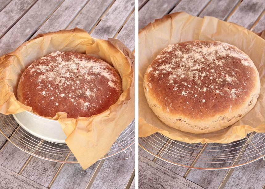 3. Sänk värmen till 225 grader och grädda brödet mitt i ugnen i 10–14 min. Lyft upp brödet i papperet och låt det svalna under en bakduk.