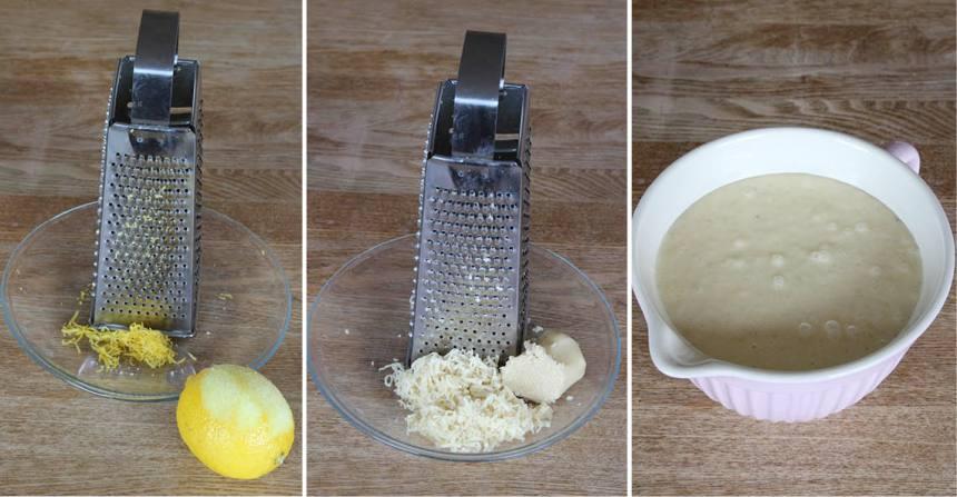 1. Sätt ugnen på 180 grader. Vispa ägg och socker pösigt i en bunke. Riv citronskalet och mandelmassan fint. Blanda ner det i äggsmeten. Blanda malen bittermandel, bakpulver, vaniljsocker och vetemjöl i en bunke. Rör ner det i äggsmeten. Tillsätt mjölk och smör. Vispa ihop allt till en slät smet.