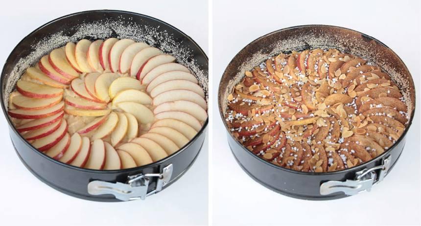 3. Lägg äppelklyftorna i ett snyggt mönster ovanpå smeten. Strö över strösocker, kanel, mandelflarn och eventuellt lite pärlsocker