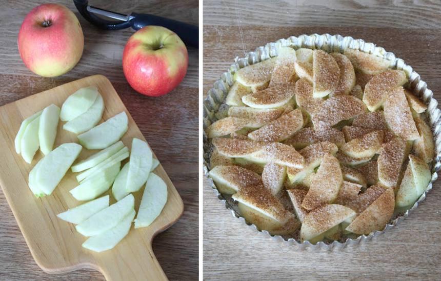 2. Skala och skiva äpplena tunt. Lägg dem i en smord pajform, ca 24 cm i diameter. Strö över socker och kanel.