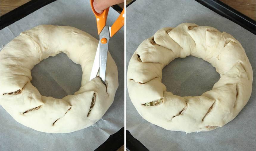 5. Forma degrullen till en rundel och fäst ihop ändarna ordentligt. Lägg den på en plåt med bakplåtspapper. Klipp breda jack i degen med ca 5 cm mellanrum.