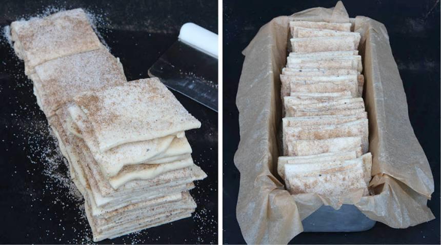 5. Bunta ihop deghögarna och lägg dem på tvären i en limpform, ca 1 ½ liter, klädd med bakplåtspapper. Fördela dem jämnt i formen. Om bitarna säckar ihop lite så reser de sig igen under jäsningen. Låt bulllängden jäsa under bakduk i ca 30 min. Sätt ugnen på 200 grader.