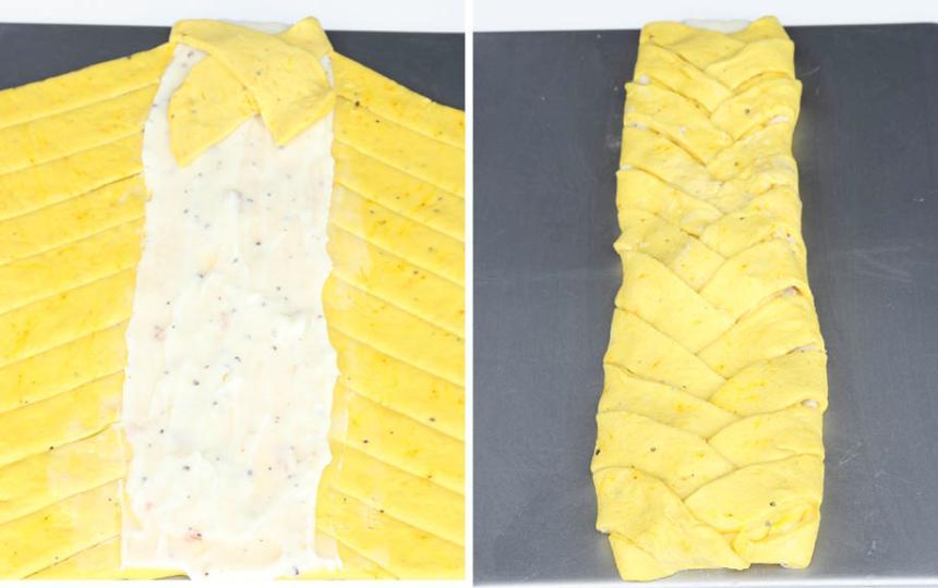 5. Fläta längden genom att lägga flikarna över varandra. Låt flätan jäsa under bakduk i ca 30 min. Sätt ugnen på 200 grader.