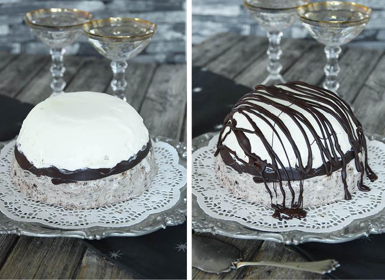 6. Doppa ner skålen i varmt vatten så den frysta glassen släpper från kanterna. Stjälp upp den på en tallrik och ringla smält choklad på den före servering.