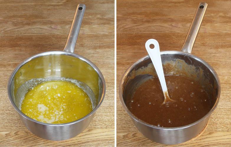 1. Sätt ugnen på 200 grader. Smält smöret i en kastrull. Tillsätt resten av ingredienserna och rör ihop allt till en smet.