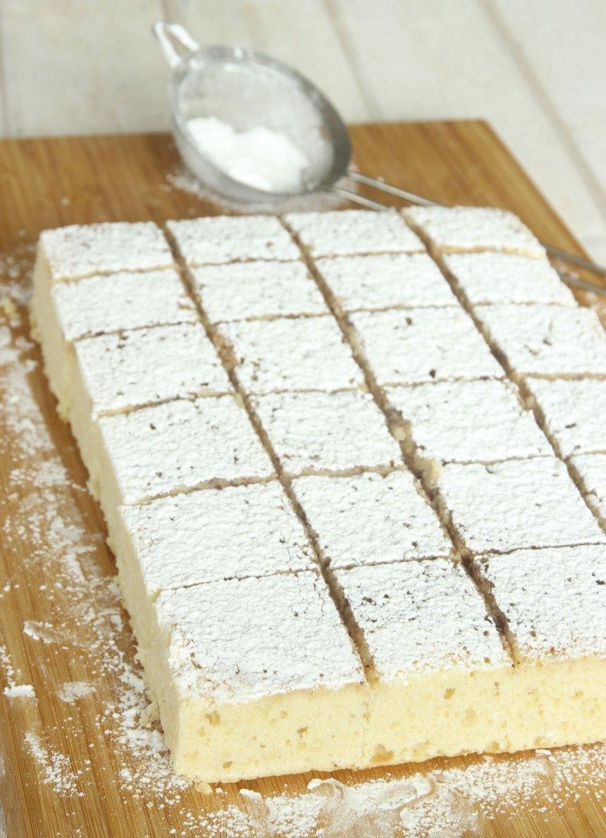 7. Pudra över florsocker och skär kakan i rutor. Servera gärna med vispad grädde och hallon.