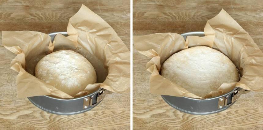 2. Forma degen till en slät boll och strö över lite mjöl. Tryck ut degen till en rund kaka i en springform, ca 24 cm i diameter klädd med bakplåtspapper (utan att jäsa).