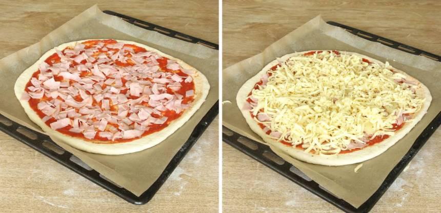 4. Strö över skinka (ev. ananasbitar) och riven ost. Strö över oregano. Låt pizzan jäsa under bakduk i ca 20 min. Sätt ugnen på 250 grader varmluft.