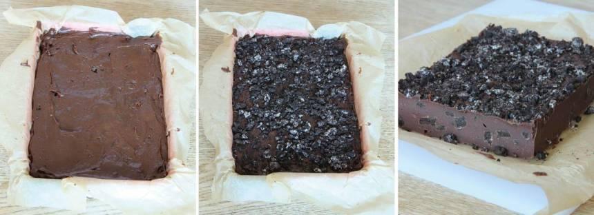 5. Bred ut smeten i en form, 24 x 32 cm, klädd med bakplåtspapper (eller i två mindre formar, ca 12 x 16 cm). Strö över resten av kakbitarna ovanpå smeten. Låt chokladen stelna i kylen. Skär den i rutor med en vass kniv.