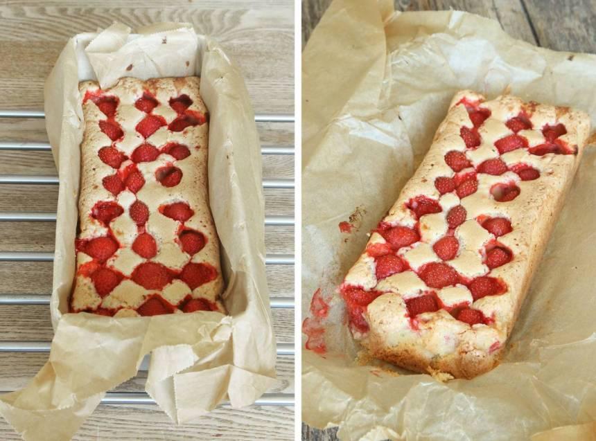 4. Grädda kakan mitt i ugnen i ca 38–40 min. Låt den svalna i formen och lyft sedan upp hela papperet med kakan ur formen. Servera den gärna med vaniljsås, glass eller vispgrädde. Förvara kakan inslagen i bakplåtspapperet så behåller den sina lite knapriga kanter.