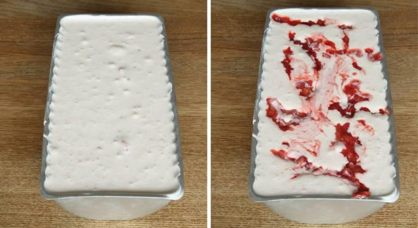 4. Häll glassmeten i en limpform, ca 1 ½ liter. Ringla över resten av jordgubbarna. Täck formen med plast och ställ den i frysen tills den är genomfryst. Ta fram glassen en stund före servering. Servera den i strutar eller på tallrik.