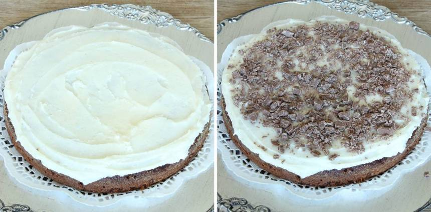 7. Bred ut glasyren över kakan. Strö över kokos och hackad choklad. Låt glasyren stelna innan du skär kakan i bitar.