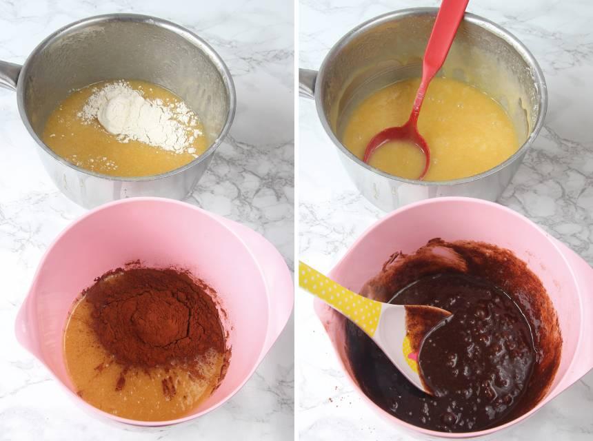2. Häll över hälften av smeten i en skål. Rör ner 2 msk vetemjöl i den ena smeten. Blanda ner 2 msk kakao i den andra smeten.