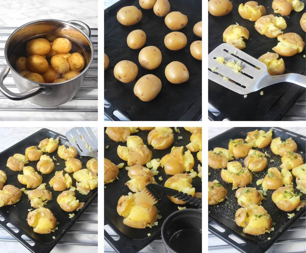 krossad potatis i ugn