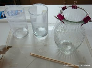 gluing gauze to glass