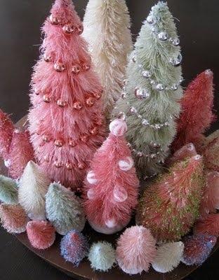 Jultrær pastell flaskekoster