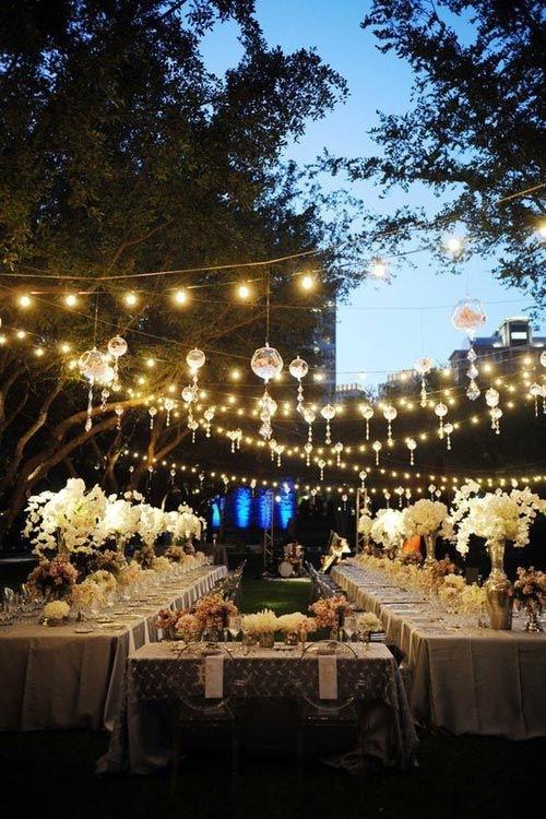 Utendørs lyslenke bryllup selskap