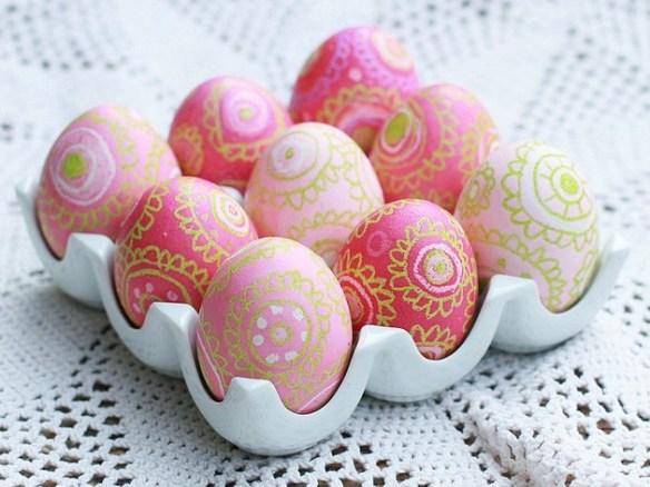rosa egg med dekor