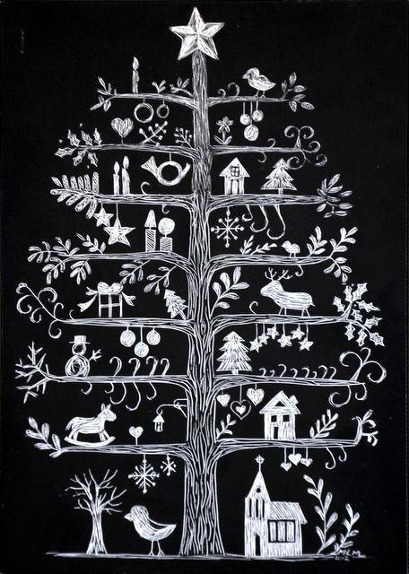 Tavlestickers med juletre hjemme tegnet (2)