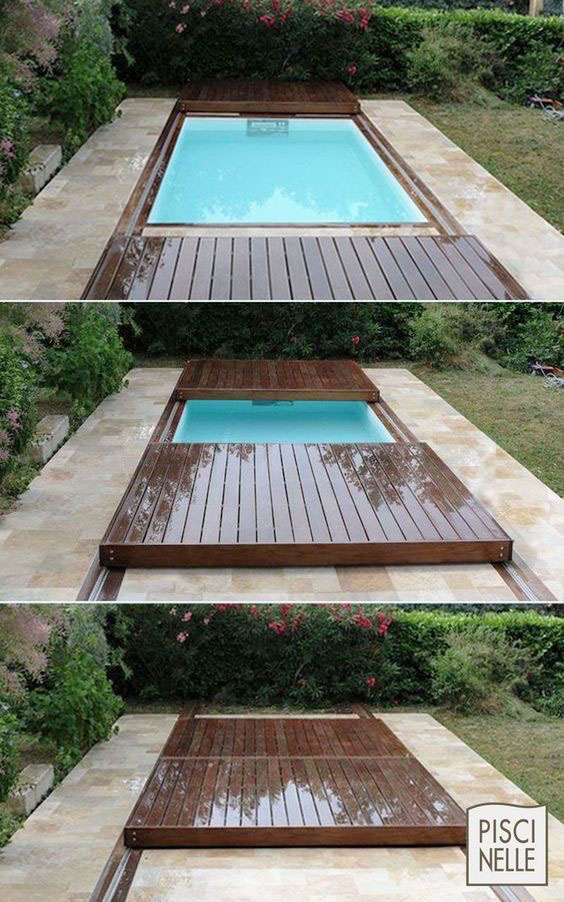 Nedfellbart basseng med skyve lokk i terrasedekke