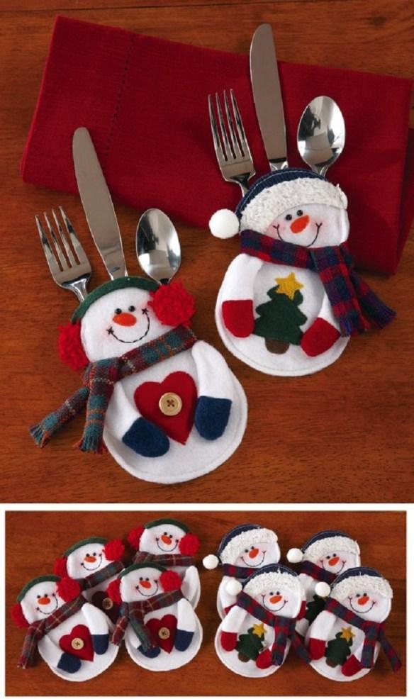 Snømann bestikkholder jul