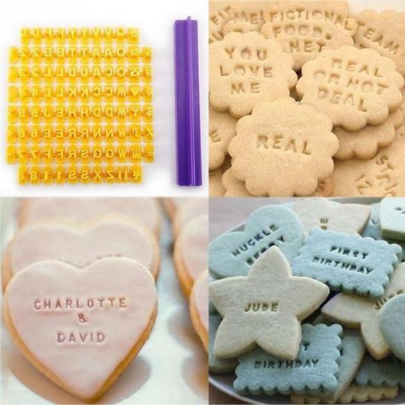 alfabet bokstaver og egen tekst på småkaker
