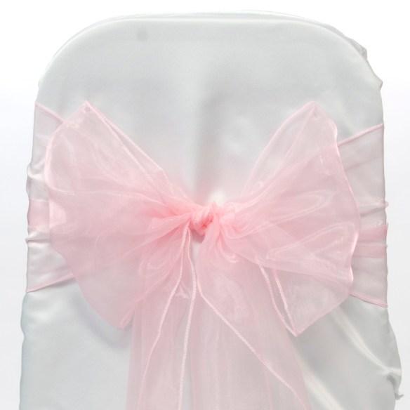 Organza sløyfe lys rosa