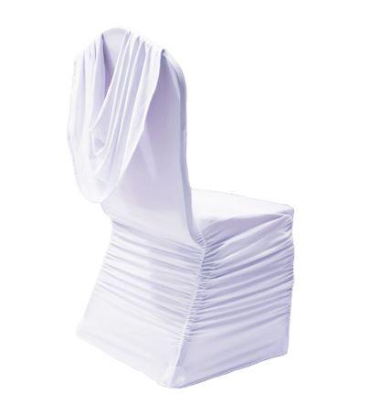 Rufflet stoltrekk med pynt på rygg hvit