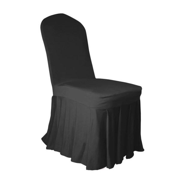 SToltrekk til konferansestol med plissert kant sort
