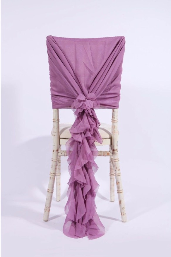 Stor dekorsløyfe til stol lavendel