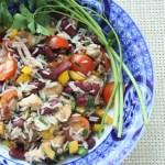 Vistas, rīsu un sarkano pupiņu salāti