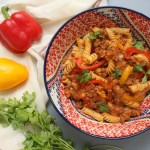 Fusilli meksikāņu gaumē ar maltu liellopa gaļu