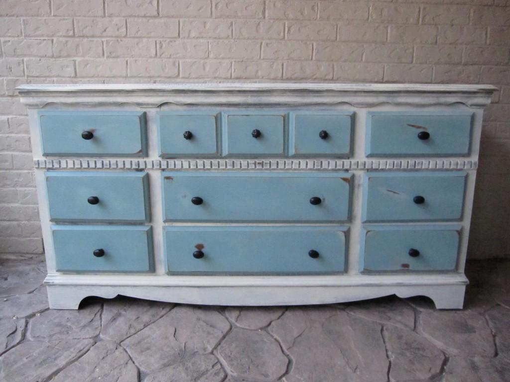 Custom Refinished Dresser  Old White  Provence Blue  Houston Furniture Refinishing Lindauer