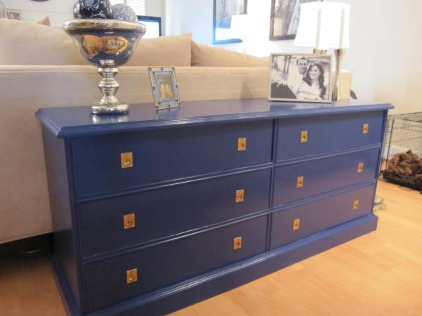 Navy Blue Gold Sofa TableCampaign Style Dresser