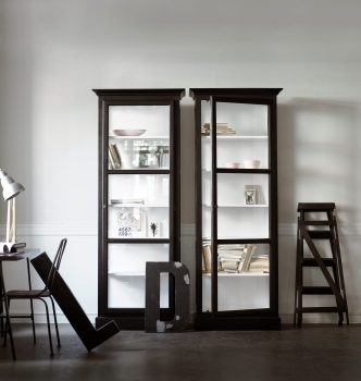 Image of two Lindebjerg Design Classic V1 Black vitrine Cabinet in a white colored creative room with interior