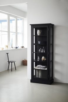 Image of Lindebjerg Design Dark Oak N1 vitrine Cabinet in a white hallway with interior