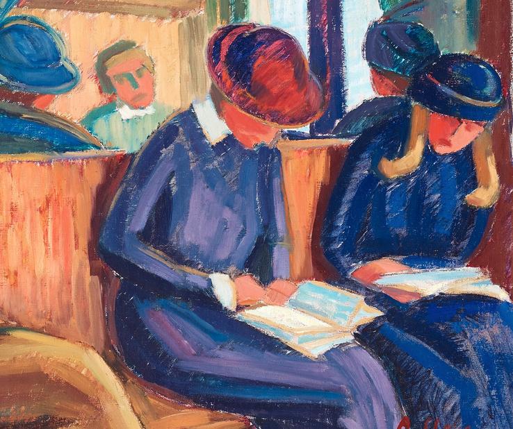 """Utsnitt ur målningen """"Tågresan"""" signerad A. Cleve. Troligen utförd på 1920-talet"""