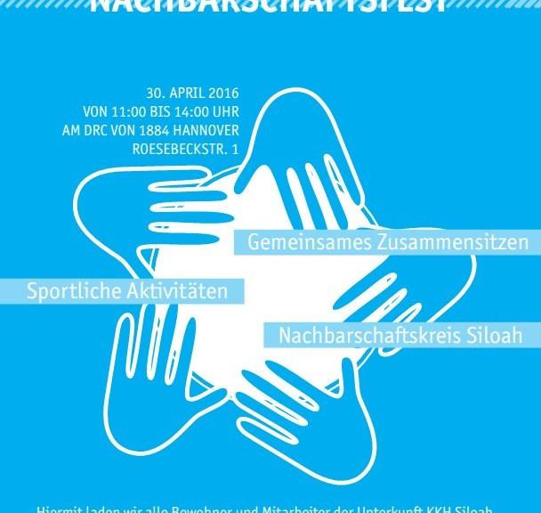 Einladungsplakat Siloah Nachbarschaftsfest am 30.04.16