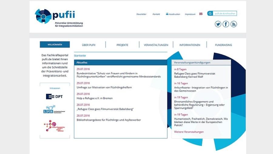 Portal für Helfer in der Flüchtlingsarbeit, Bildschirmfoto pufii.de