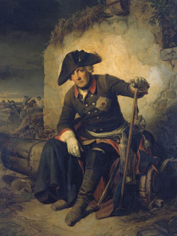 Kunstdruck Friedrich II. nach der Schlacht von Kolin (18. Juni 1757) von Julius Schrader