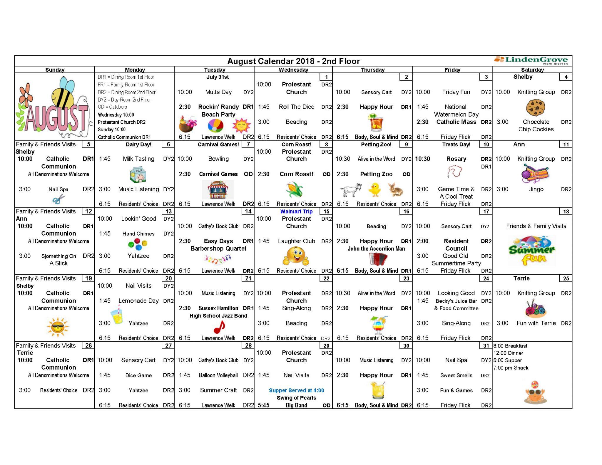 2Nd Floor Activity Calendar August 2018