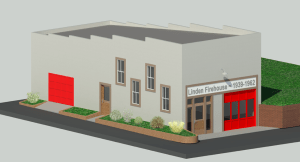 Conceptual computer-rendered image of 1939 Firehouse after restoration.