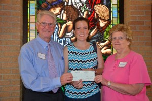 Check presentation by Brittanie Ward Lowery (center), Administrative Assistant of Ward Timber Company, to Linden Heritage Foundation Officers Joe B. Lovelace (left) and Jana Carpenter Bounds (right).