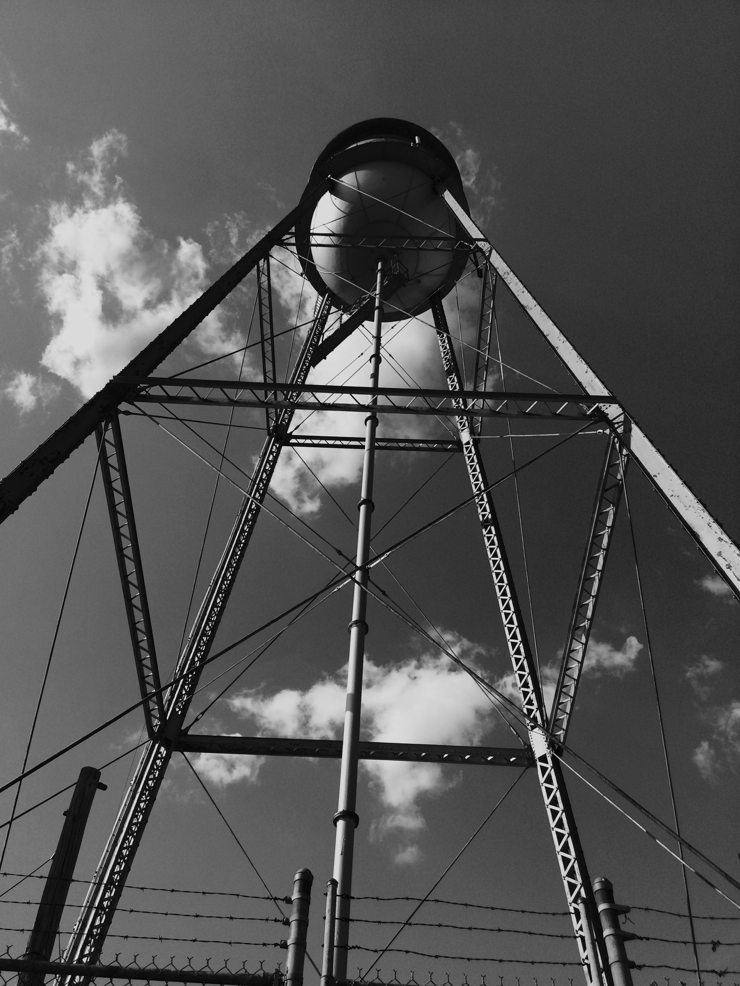 View of Linden's 1934 water tank from south side of pump house located under the tower.