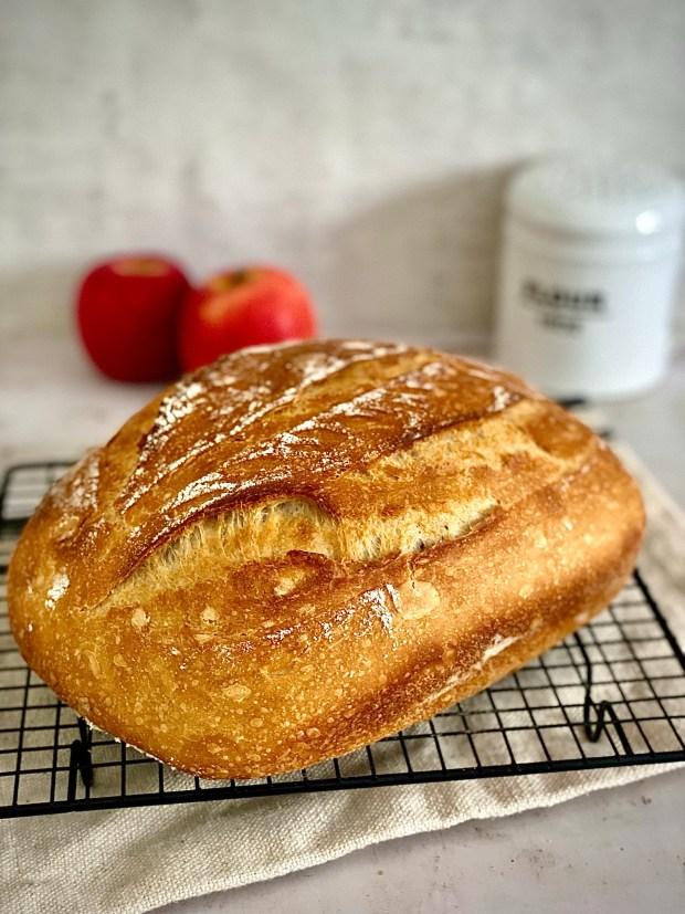 Apfelwein-Brot auf Abkühlgitter mit Äpfeln im Hintergrund